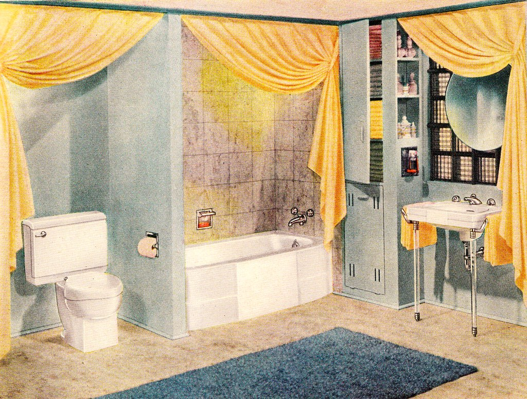 blue and yellow bathroom parent 39 s magazine july 1947 flickr. Black Bedroom Furniture Sets. Home Design Ideas