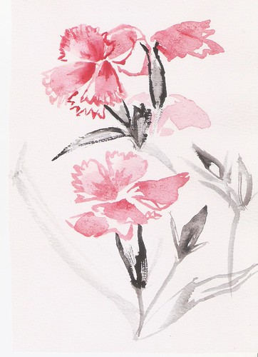 Flowers in nature --watercolour Chinese Painting | by Naomi Chung's Daydream Art
