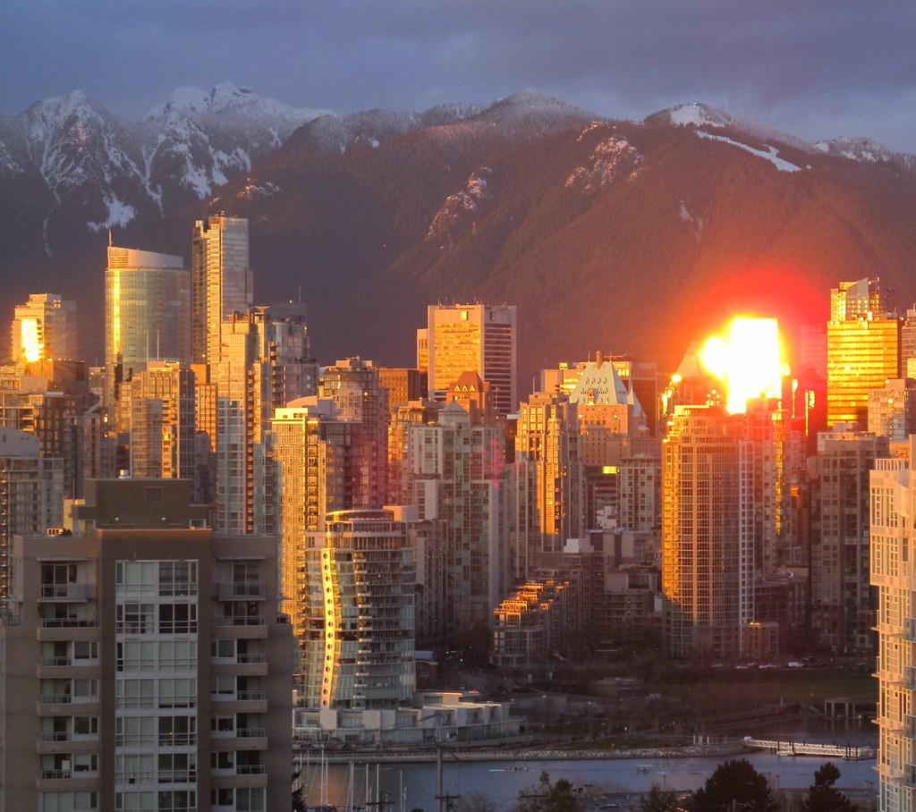 Downtown Vancouver: Second Sunset From Reflection In Downtown Vancouver Skylin
