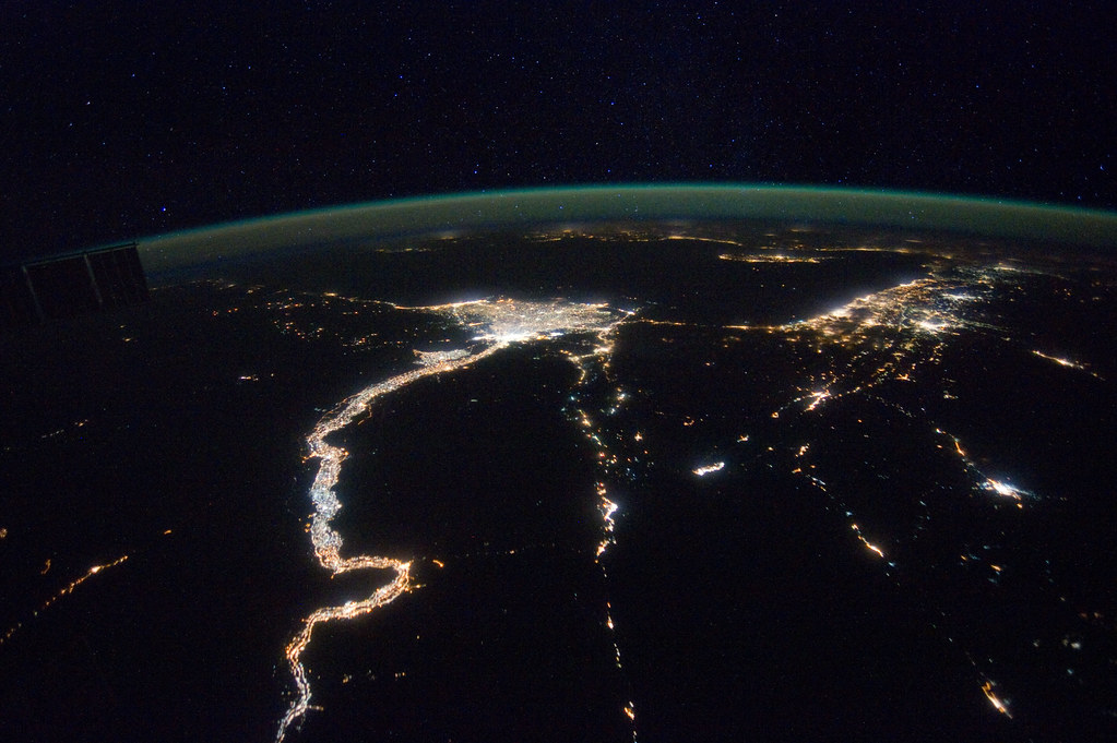 Nile River On World Map A Night View Around th...