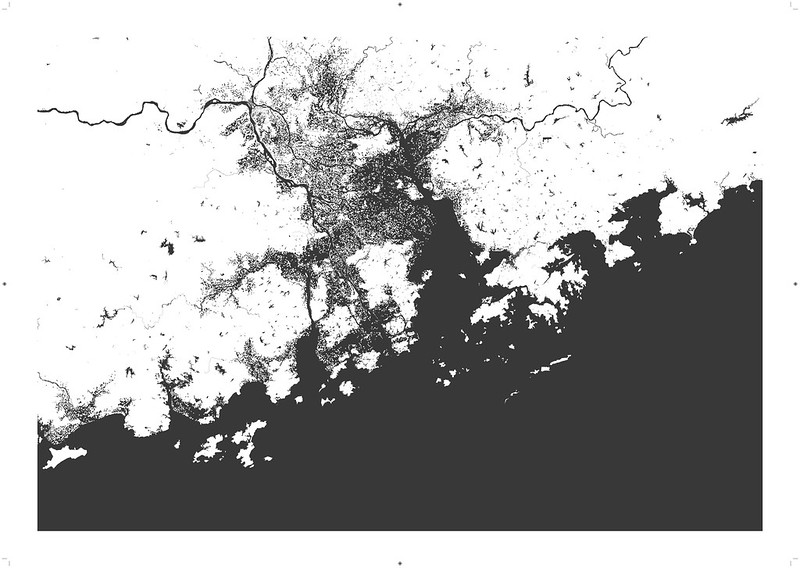 guangzhou map one metre sea level rise flood scenario