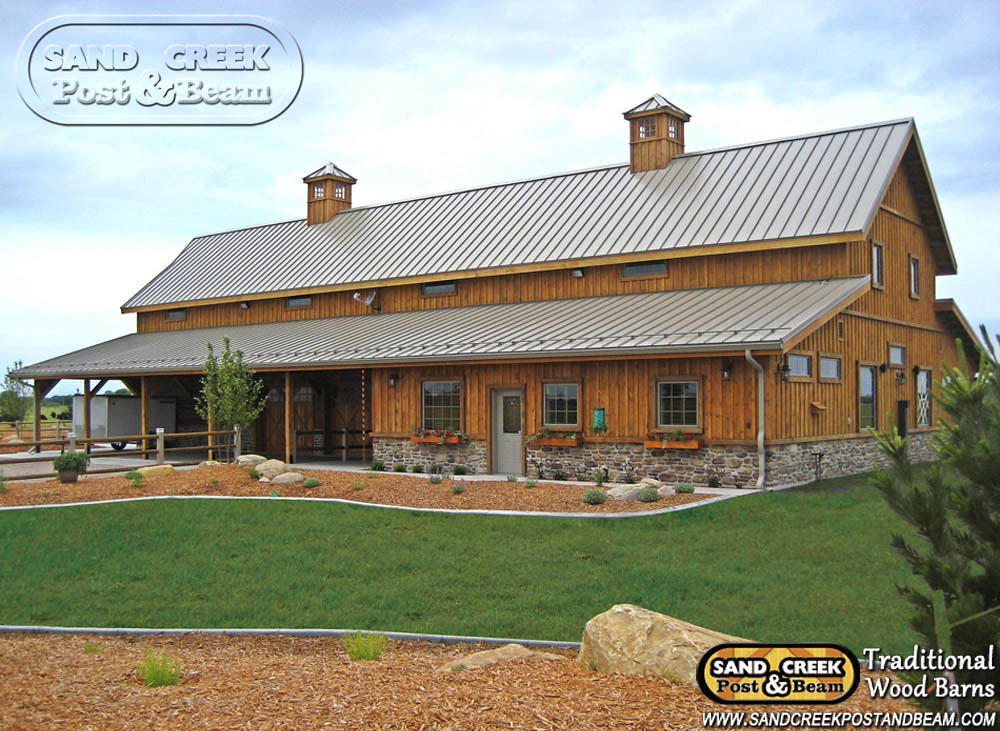 Western sand creek post beam traditional wood barns for Post and beam barn plans and pricing
