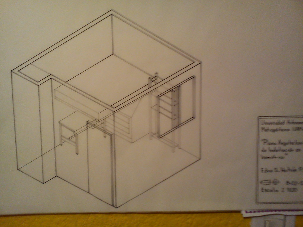 Plano arquitectonico de habitacion en isometrico entintado for Plano habitacion
