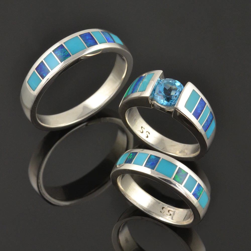 Turquoise And Opal Wedding Set Turquoise And Australian