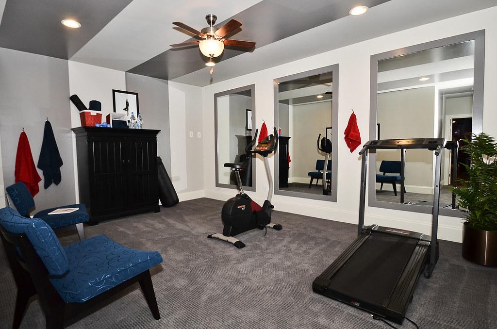 Basement exercise room vanmetre homes flickr for Basement workout room