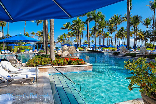 Poolside View from Under a Beach Umbrella, Ritz-Carlton Resort, San Juan Puerto Rico | by George Oze
