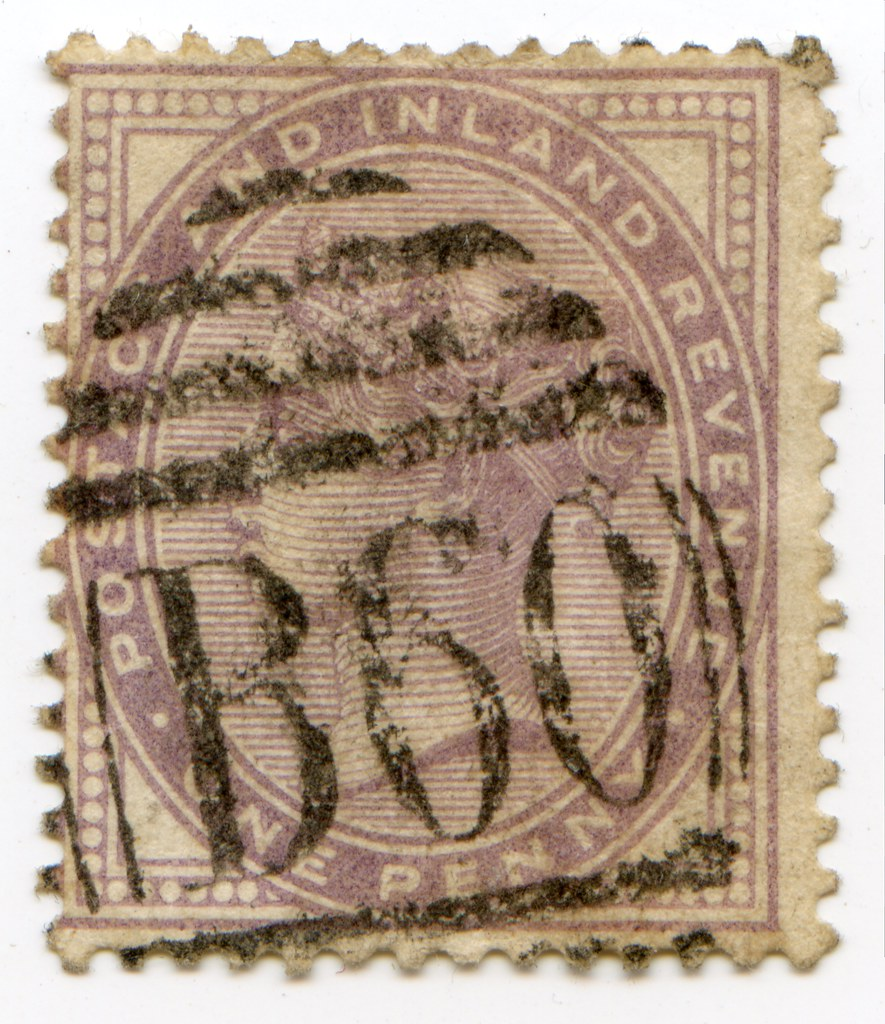Die I Queen Victoria One Penny Lilac 1d Stamp With Bourn