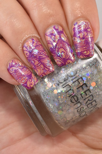 Manicure Manifesto Purple And Orange Floral Stamped Nail Art