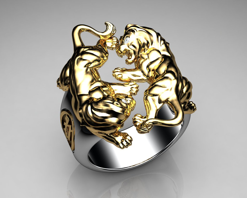 Unique Mens Ring Lion Ring Sterling Silver and Gold with W Flickr