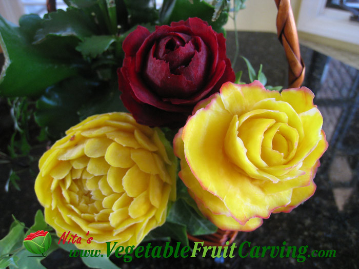 Carved vegetable flowers carving made