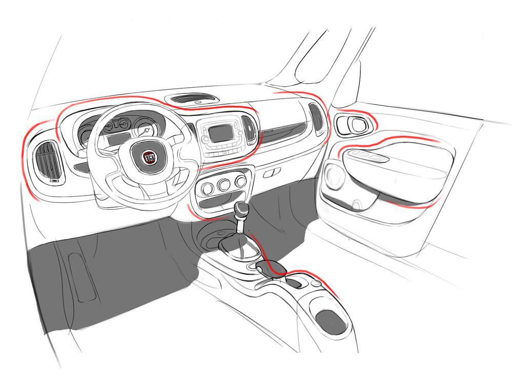 interior sketch of fiat 500l 500l a design approach flickr. Black Bedroom Furniture Sets. Home Design Ideas