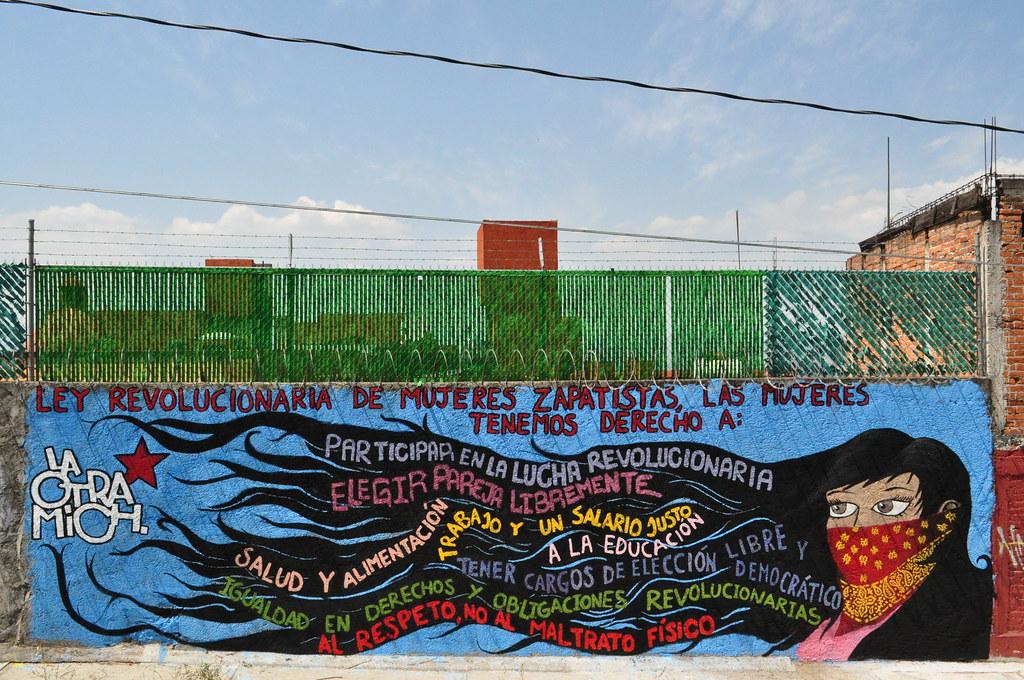 Ley revolucionaria de las mujeres zapatistas mural hecho for Mural zapatista