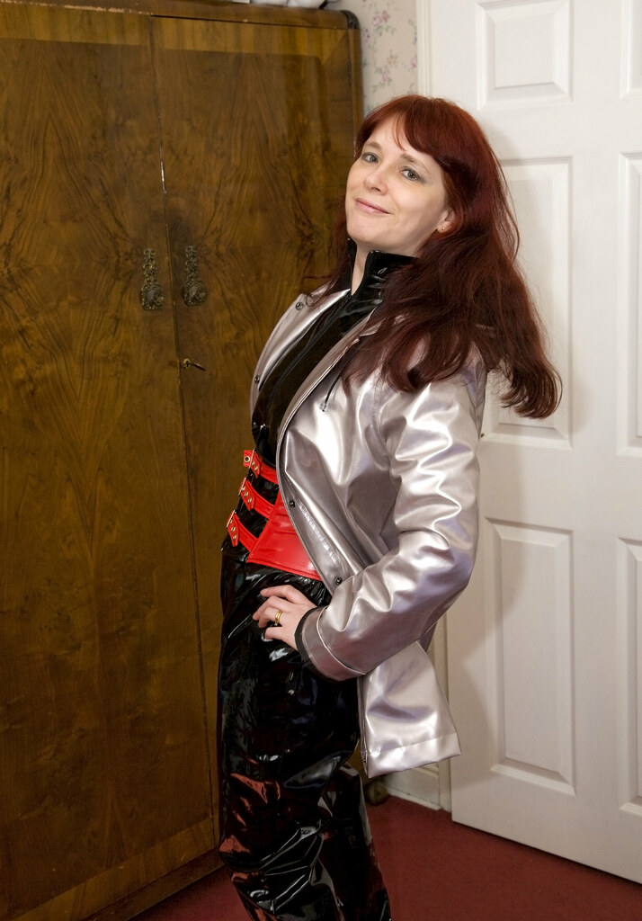 Linda Shows Off Her New Catsuit Cincher And Silver Pvc R