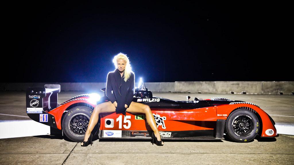 Sexy blonde stunning body IMSA ALMS grid girl Karin Wilzig ...