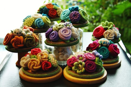 A lovely group of wool flower pincushions | by woolly  fabulous