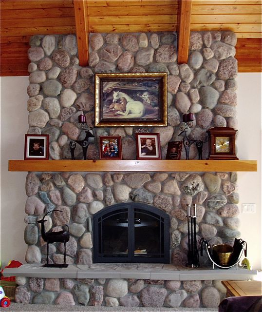 fieldstone fireplace white shelves | Fieldstone Fireplace | www.northtwinbuilders.com | North ...