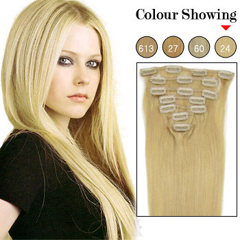 20 inch 7pcs golden blonde 24 remy clip in hair extension