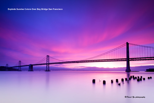 Explode Sunrise Colors Over Bay Bridge San Francisco | by davidyuweb