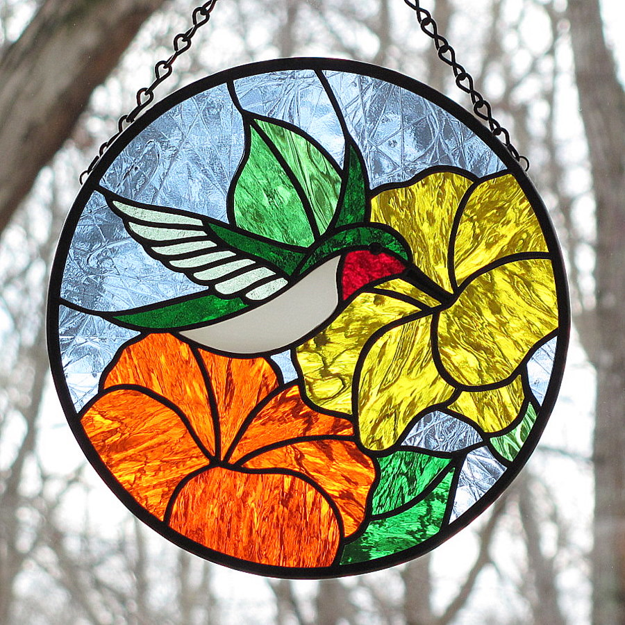 Stained Glass Hummingbird~Ruby-throated With Yellow And Or