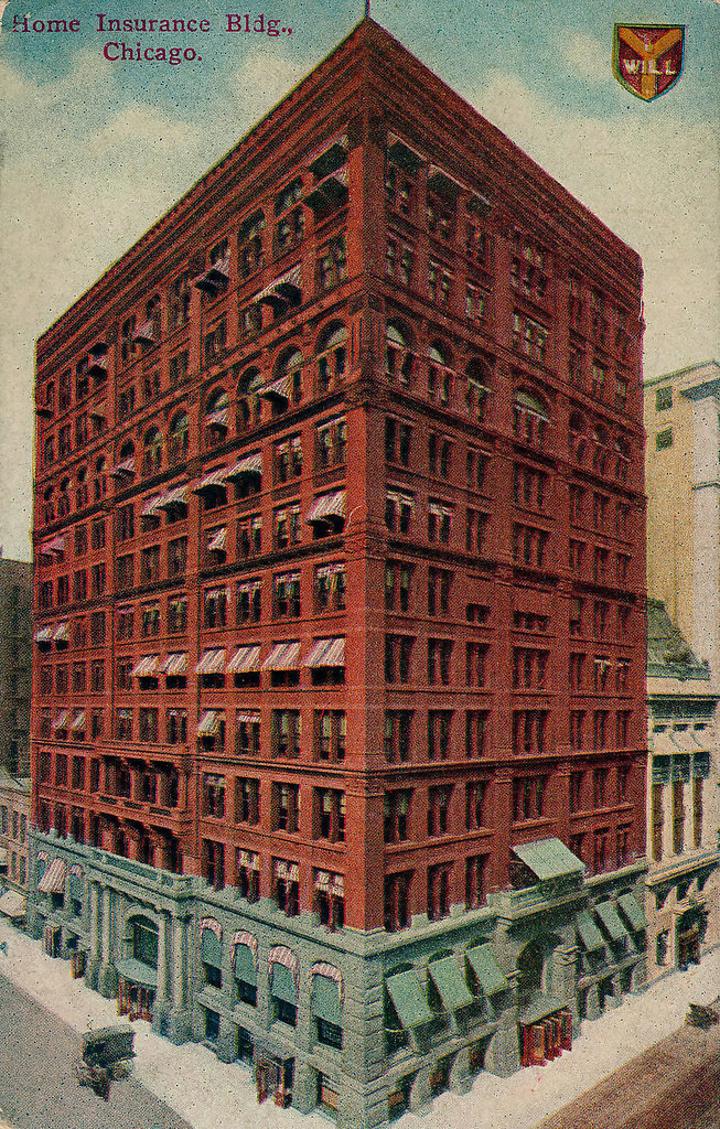 Home insurance building 1885 postcard demolished 1931 for New home construction insurance