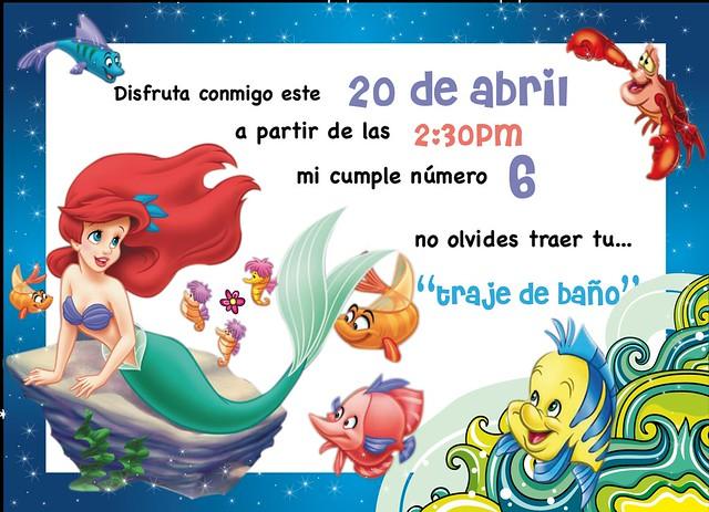 Tarjeta De Invitación La Sirenita Imagui