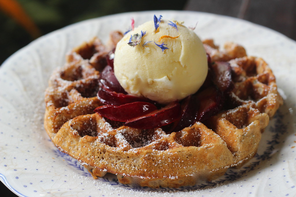 ... Ice Cream Earl grey tea waffles , roasted plums and honey vanilla ice