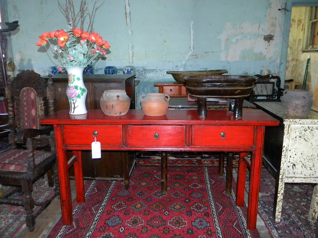 Antique 3 Drawer Red Sofa Table | Carpetbeggers 513 Mitchell | Flickr