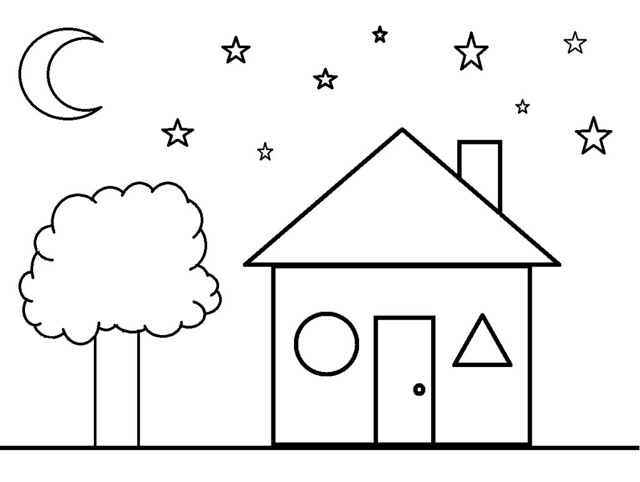 Shapes Coloring Sheet- House