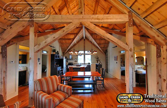 Barn home interior sand creek post beam traditional for Interior pictures of post and beam homes