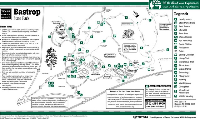 Bastrop State Park Facility Map | Explore Texas Parks and ...