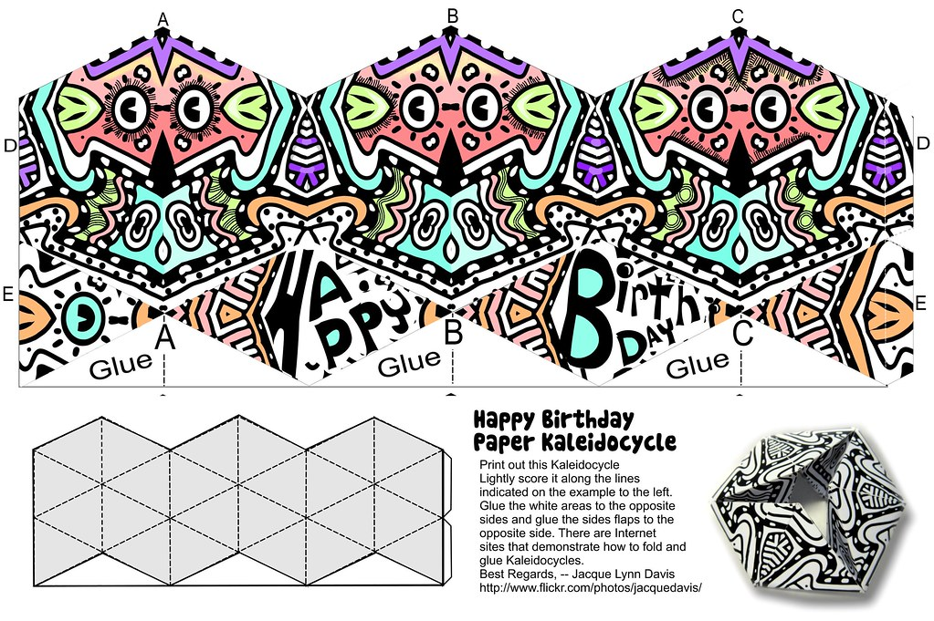 Happy Birthday Kaleidocycle Print Score Fold And Glue