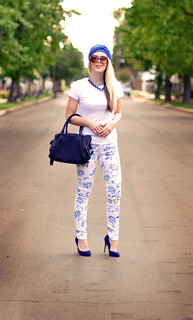floral print jeans  -  blue white  accessories | by ...love Maegan
