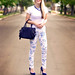 floral print jeans  -  blue white  accessories