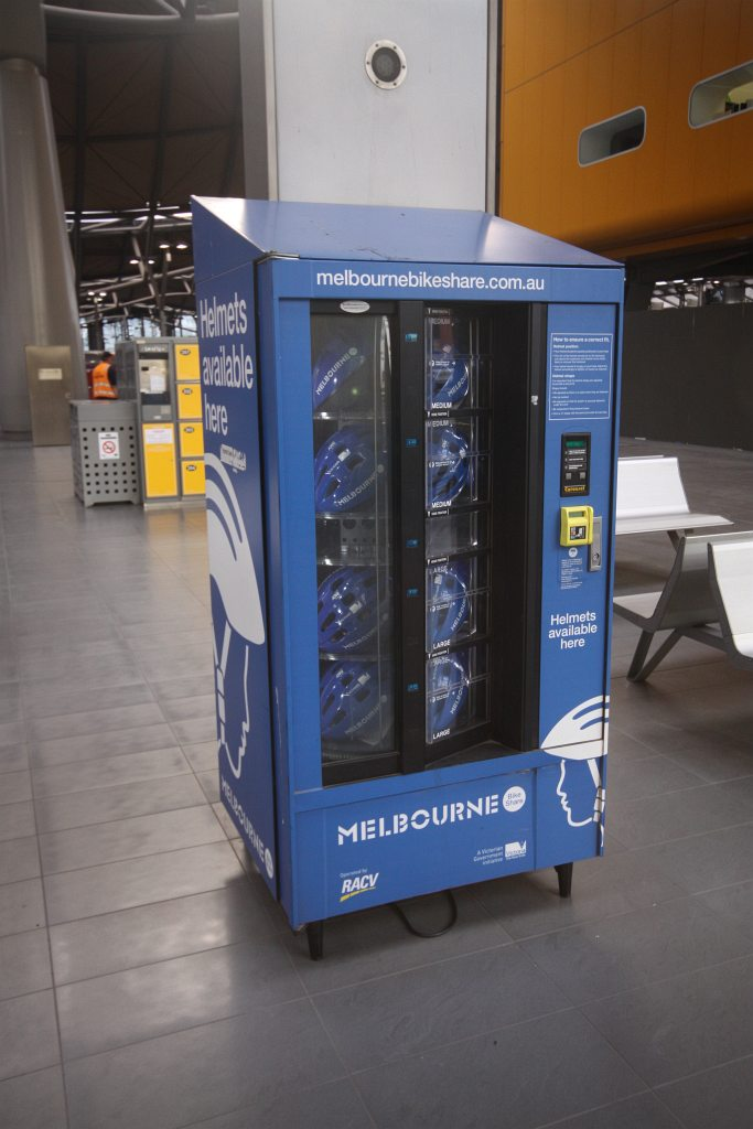Bicycle helmet vending machine at Southern Cross Station ...