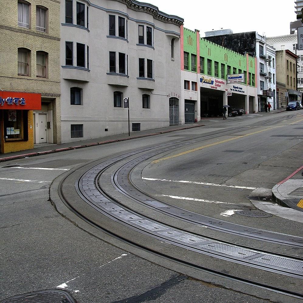 Cable Car Tracks On Powell
