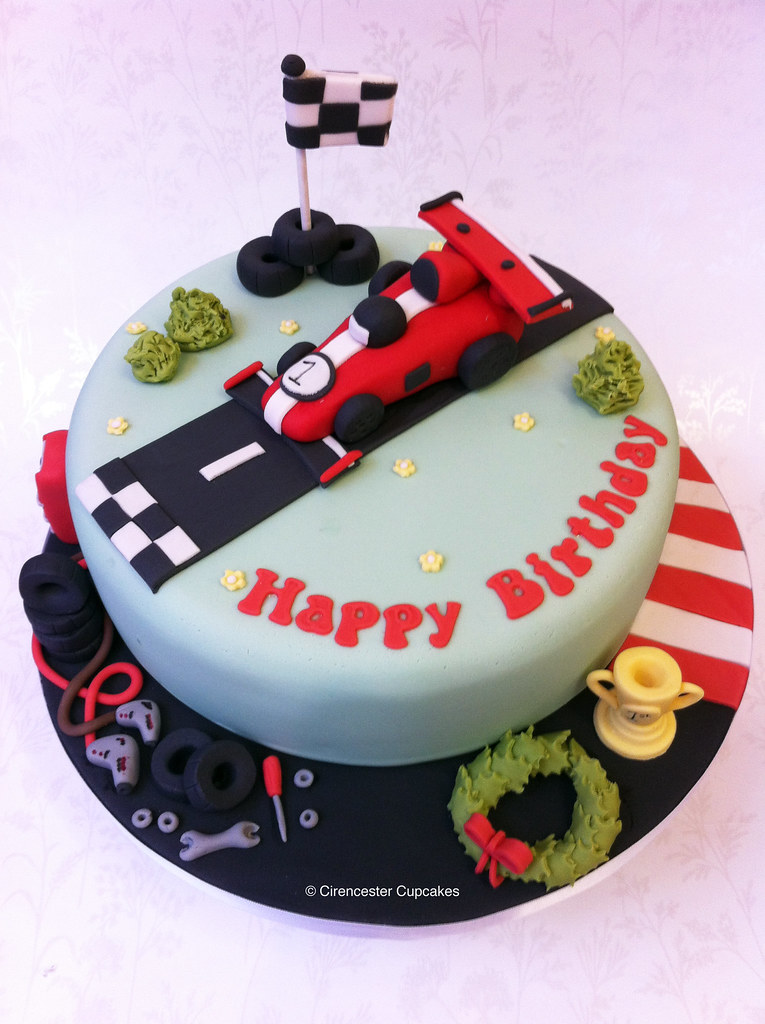 Birthday Cake Finishing Line A Motor Racing Themed