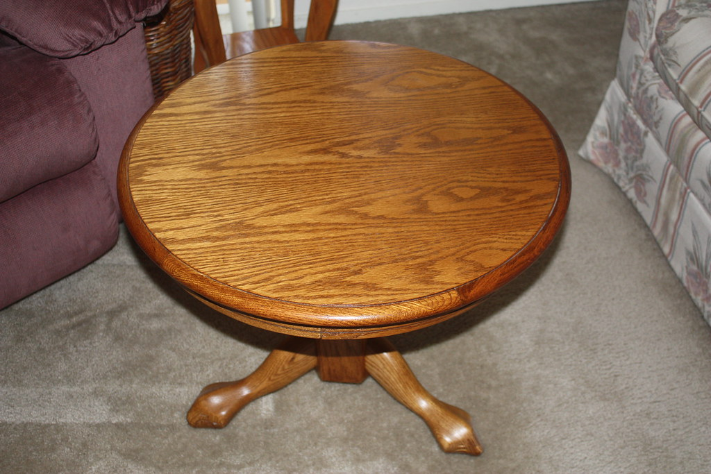 Round Oak End Table | Solid Oak Round End Table In Excellentu2026 | Flickr
