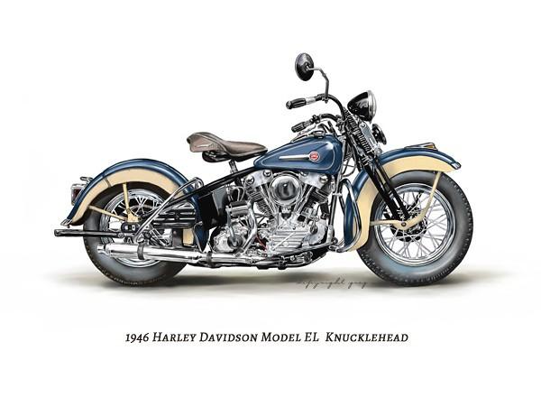 Old Harley Davidson: Painting/Illustration Of A 1946 Harley Davidson Model EL K