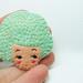 Mint cookie girl head felt brooch