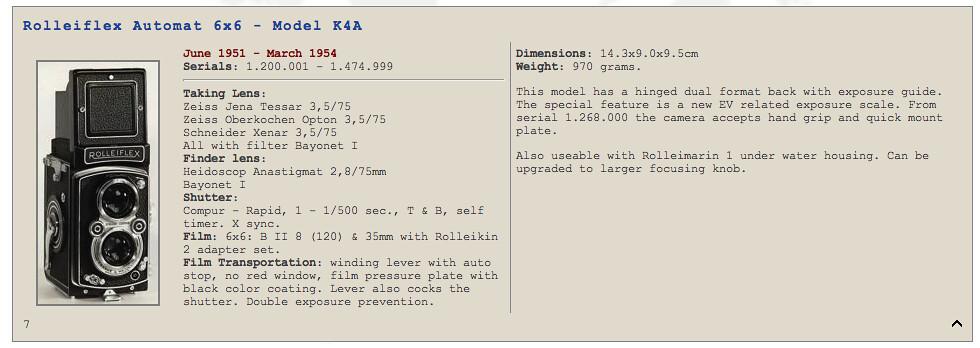 Rolleiflex Automat 6x6 - Model K4A
