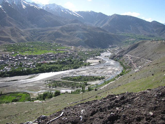 Kargil city on the banks of Suru river