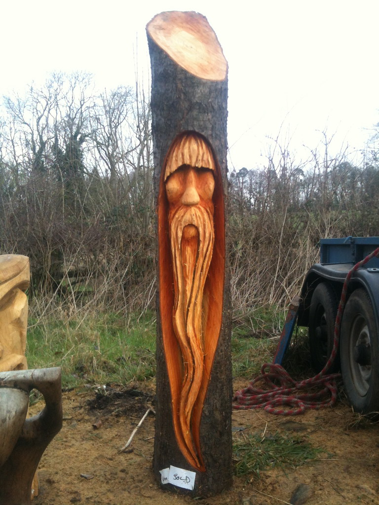 Cherry wood tree wizard chainsaw carving rob beckinsale
