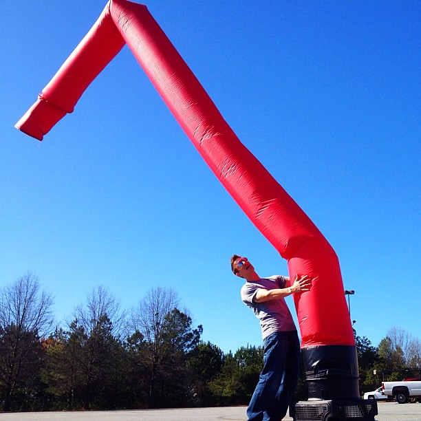 Wacky waving inflatable arm flailing tube man dating video bobby