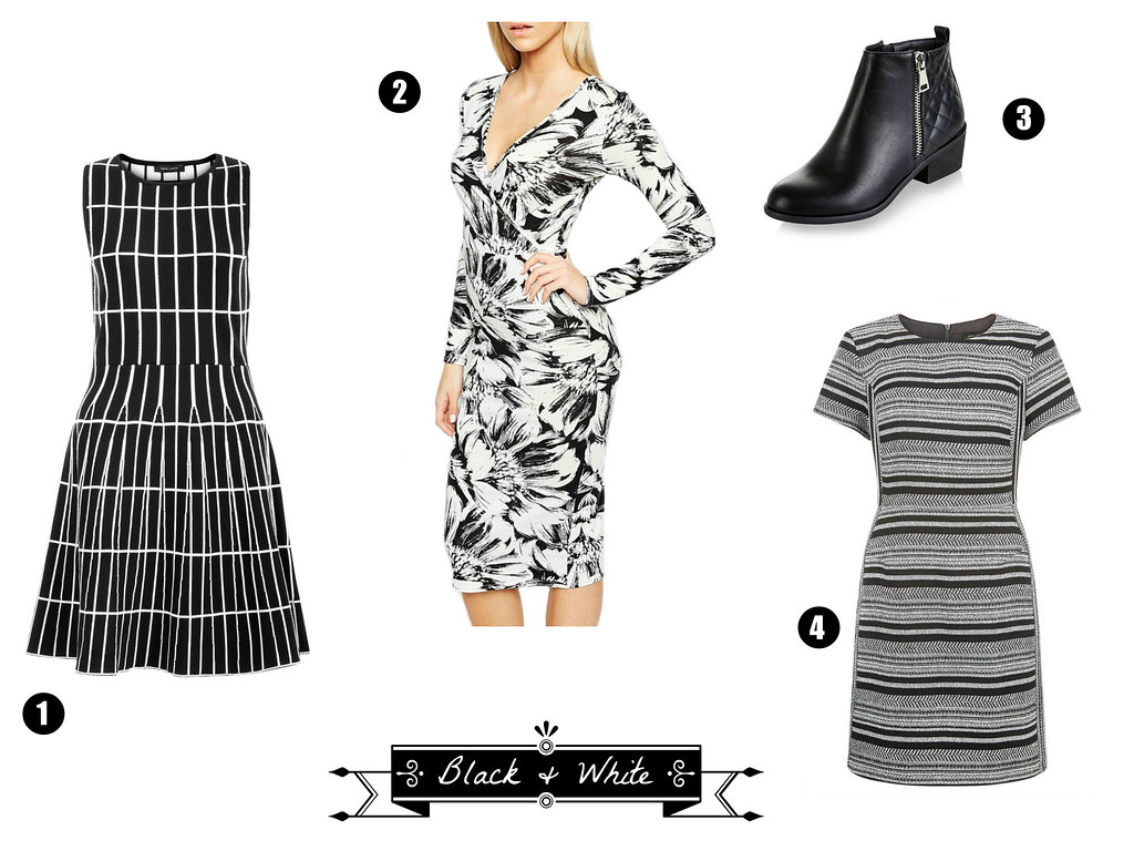 black and white contrast clothing fashion purchases newlook new look asos dress striped floral pattern knit knee length ankle booties