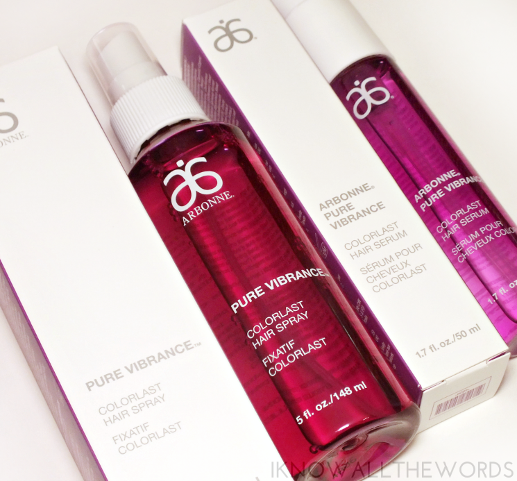 arbonne pure vibrance hair care hair spray serum