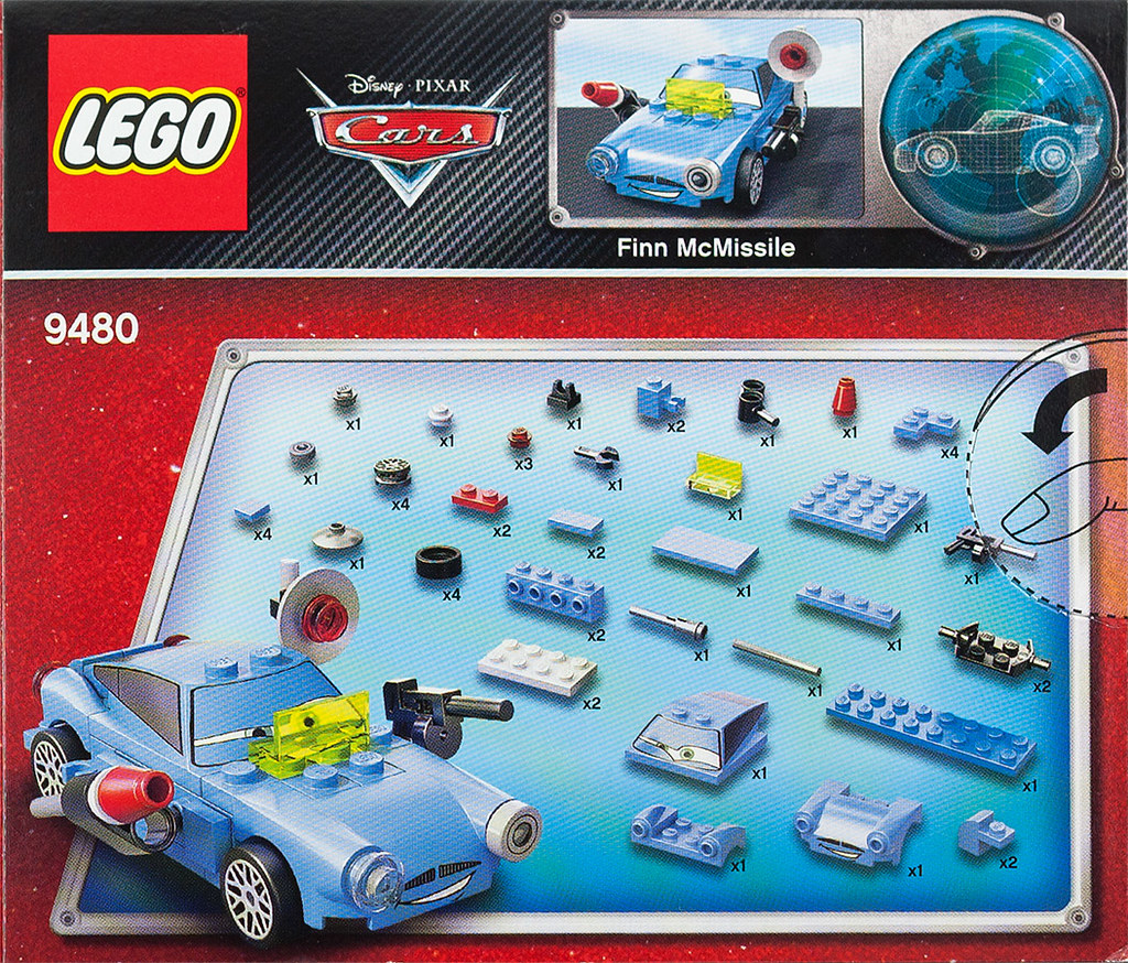 Lego cars 2 finn mcmissile box cover back lego set 9480 for 2 box auto profondo