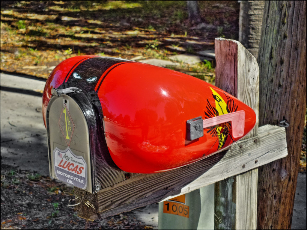 nifty colorful mailbox (harley-davidson motorcycle fuel ta… | flickr
