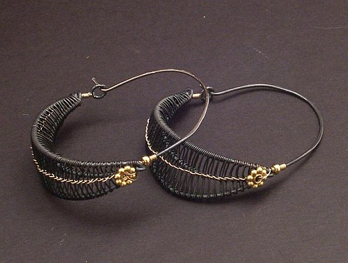 Black and Gold Hoops | by MaryTucker