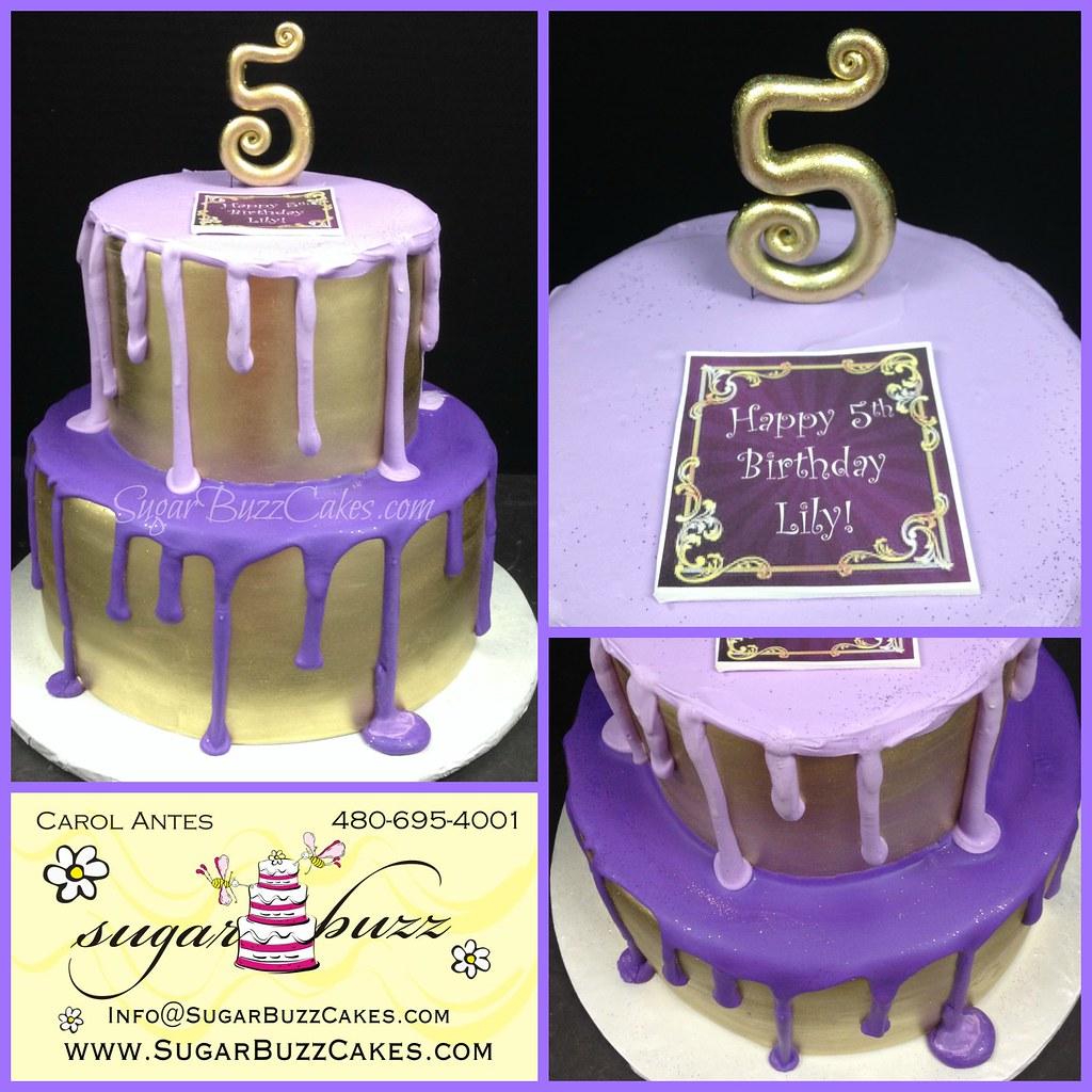 Tier Purple Birthday Cakes
