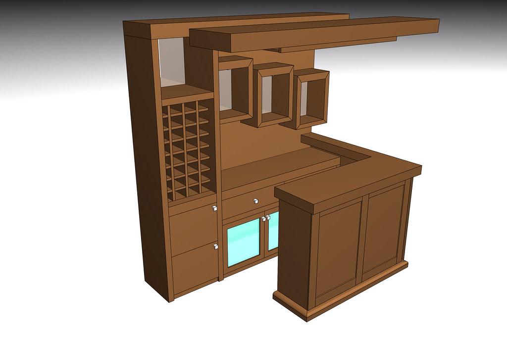 Dise o 3d de bar a pedido mueble hecho completamente a for Programa diseno muebles 3d